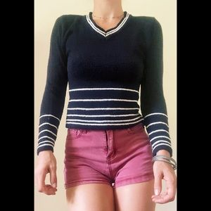 Bisou Jeans Stretchy Striped Crop Sweater